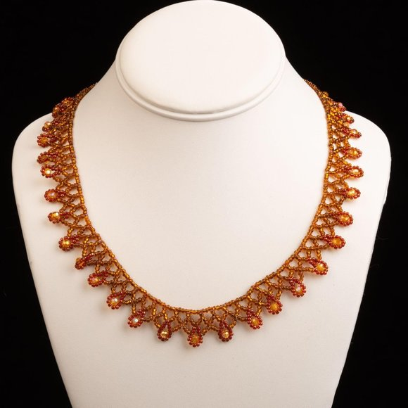 Vintage Persian Style Hand Beaded Glass Amber and